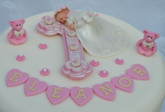 Cake Toppers For Baby Girl Christening : Edible baby and cross Christening cake topper. Baby girl