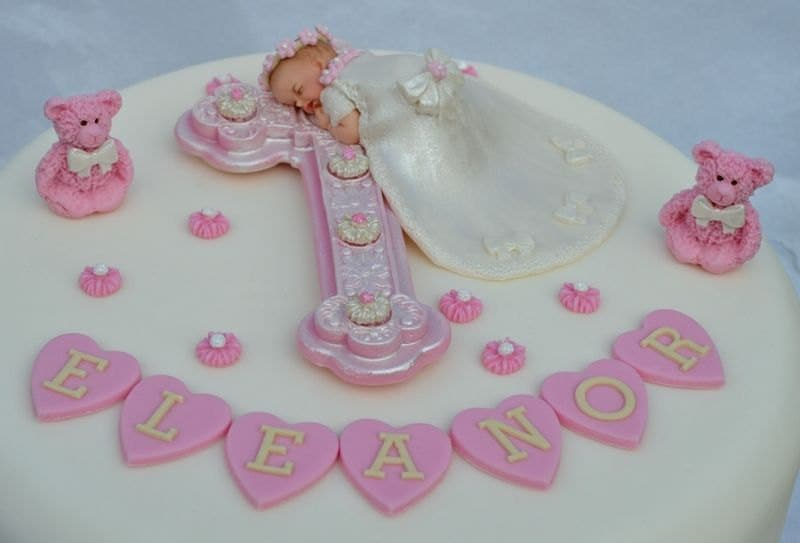 Edible baby and cross Christening cake topper. Baby girl