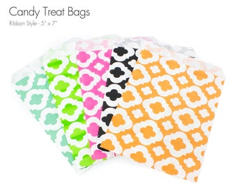 """25 Large Ribbon Style Candy Treat Bags - 5"""" x 7"""""""