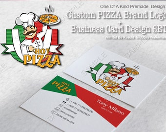One Of A Kind  (OOAK) Premade Pizza Logo Design + Business Card Design SET, Will Not Be Resold (Includes Watermark)
