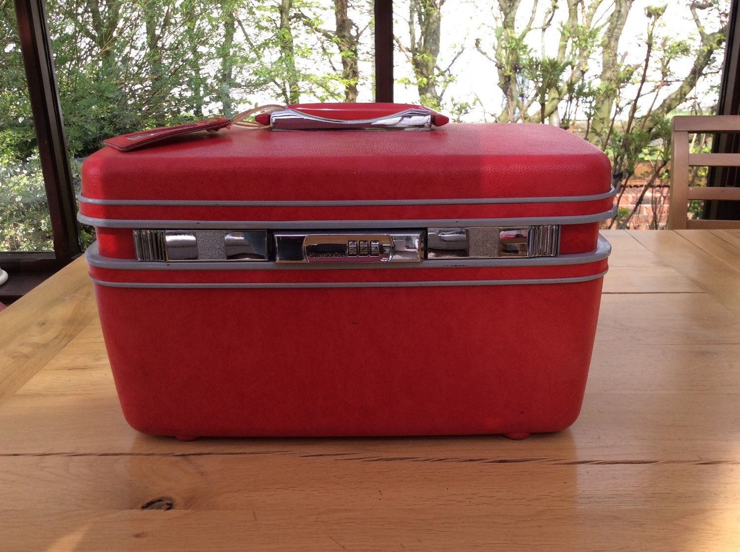 vintage samsonite vanity case make up case red combination. Black Bedroom Furniture Sets. Home Design Ideas