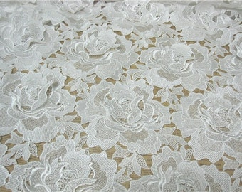 Off White Gorgeous Double Flowe Embroidery Lace Fabric ,Guipure Lace Fabric , Cord Lace Polyester Lace For  Wedding Dess sewing