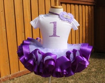"First 1st Second Birthday outfit lavender purple tulle purple sewn ribbon trimmed  giltter ""1"" girl birthday party tutu outfit"