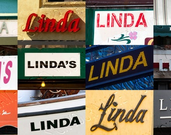 Personalized Coffee Mug featuring the name LINDA in photos of signs; Ceramic mug; Unique gift; Coffee cup; Birthday gift; Coffee lover