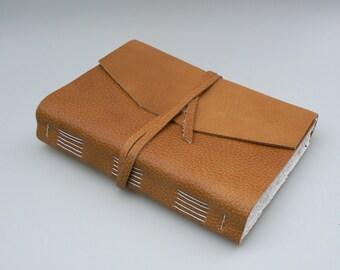 Handmade Leather Book / Journal - Tan / Light Brown / 8.5 x 6 / A5 size