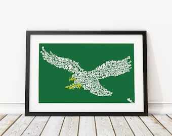 Philadelphia Eagles Typography, Custom Wall Poster, Digital Wall Print