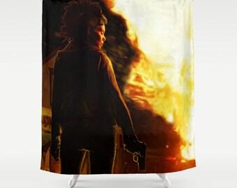 Dragon Tattoo Shower Curtain from Original Painting, Millenium, Stieg Larsson, Rooney Mara, Lisbeth Salander, 71x74, Free Shipping