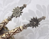 Sun Goddess hairsticks - white bone hairsticks with silver bali beads