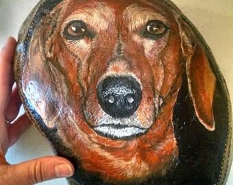 custom dog portrait dachshund pet painting art stone paintings dog ...