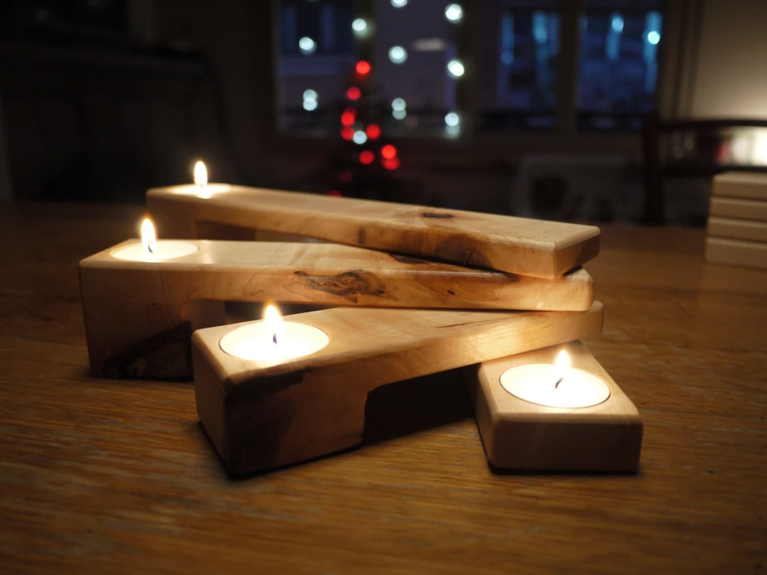 Wooden Tealight Holder Candle Holder Folding Candle Holder