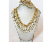 ON SALE | Was 795 Vintage Unsigned Miriam Haskell Gold Bookchain Necklace / Bracelet Set With Crystal Bead Charms / Tassels