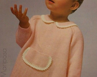 Knitting Pattern Vintage 60s Knitted Baby Sweater Pattern Baby Top Pattern 6 mos -1 and 2-3 INSTANT DOWNLOAD