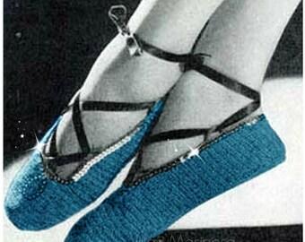CROCHET SLIPPERS PATTERN 70s Crochet Ballet Slippers Vintage Pattern Yoga Slippers Pattern Instant Download