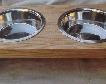 Wood veneer pet feeder