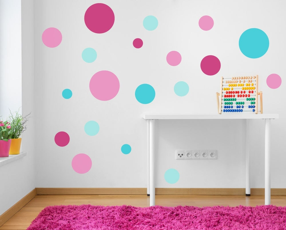 Spot decals pink turquoise aqua polka dot wall stickers for Polka dot bedroom designs