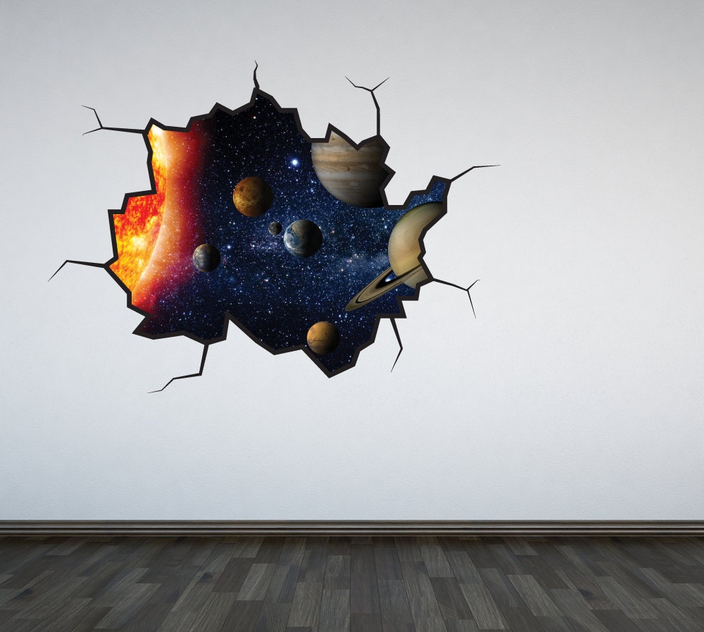 Solar system wall decal outer space sticker mural outer space for Wall decor outer space