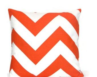 Orange pillow cover, Tangerine orange and White Large Chevron  pillow,  Fall pillow, Tangerine pillow cover