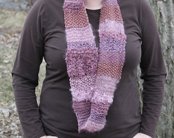 Pink hand knit infinity mobius scarf (cowl) - mixed fiber