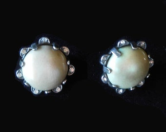 Signed NETTIE ROSENSTEIN Sterling Clip on Earrings with Prong Set Pearls & Crystals Vintage