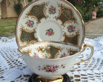 Paragon Teacup Green and Gold with Flowers