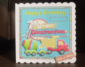 Truck/Lorry Birthday Card for a Boy  - Handcrafted in UK - 3d decoupage - Have a name added