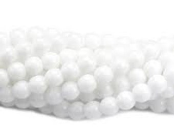 Czech Glass Druk 6mm - Pack 35 Beads - Opaque White