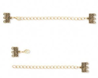 Metal - Antique Gold End Bar with Extender Chain and Lobster Clasp - Pack 3