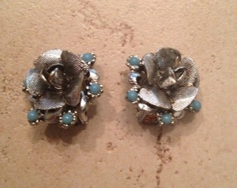 Vintage Flower Earrings Silver with Blue Stone Costume Jewelry