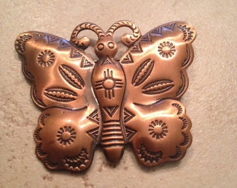 Vintage Copper Butterfly Brooch Jewelry