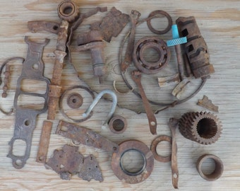 Rusted Metal Parts - Miscellaneous Metal - Steampunk - Salvaged - Hand Forged - Desert Sand