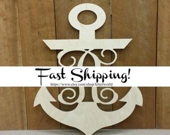 Wooden Monogram Anchor - Wooden Anchor Monogram - Ready to Paint - Nautical Decor - Anchor Door Hanger - Monogram Anchor Decor