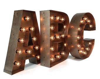 Lighted Metal Initials Lighted Letters  Etsy
