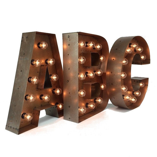 Wall Decor Light Up Letters : 18 Marquee LETTERS ... custom steel marquee letter