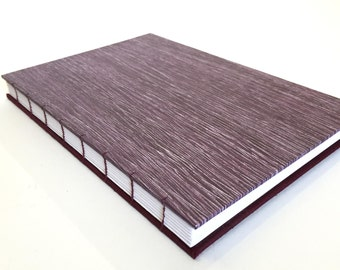 """Halloween Purple notebook, sketchbook, drawing book, journal, blank pages - puple and burgundy  - coptic stitches - 8.5""""x5.5"""""""