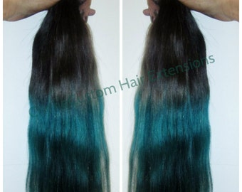 "SALE Dip Dye 8A Remy Human Hair Extensions Double Weft Clip Ins  Ombre Balayage Off Black Colour 1B to Turquoise 24"" 200g"