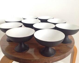 Set 10 Mid Century Modern Footed Dessert Bowls MCM Black White Pottery
