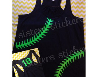Baseball or Softball Racerback Tank Top with Vinyl Stitches and Number or Monogram