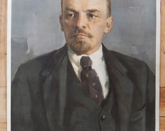 Soviet Vintage Lenin Portrait Poster Soviet Russian Propaganda Poster Made in USSR 1980s Gift Collectible Art Poster