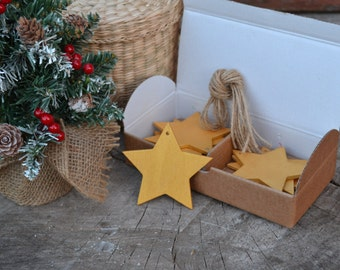 Christmas star. Set of 8 pieces.Golden star.Star.Gold.Christmas ornament.Christmas tree decor.Holidays.Wooden star. Plywood.