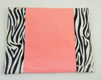 Pink Duck tape coin purse / card holder / pouch with animal print trim.
