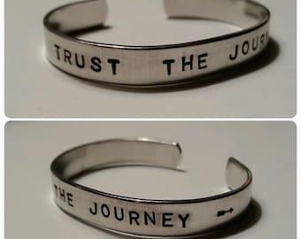 "Trust the Journey- Hand-Stamped Aluminum Cuff Bracelet- 1/4"" Wide"