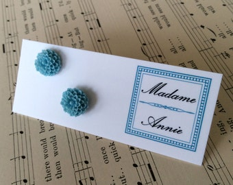 Small Sky Blue Chrysanthemum Stud Earrings