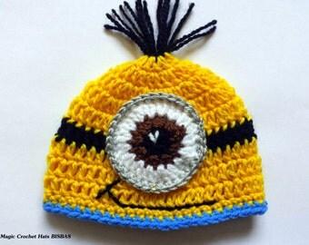 Despicable me hat,crochet minion hat,MINION INSPIRED,photo prop minion,baby boy minion,minion hat,minion costume,minion bonnet,minion outfit