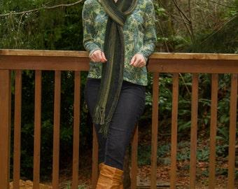 Green stripe scarf, unisex knit scarf, hand knit extra long hipster scarf boho scarf men's knit wear, teen wear, women's wear, ready to ship