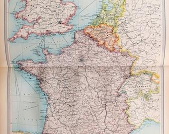 Huge 1922 Antique Map, Western Europe Map, Political