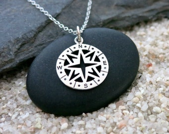 Silver Compass Necklace, Sterling Silver Compass Charm, Travel Jewelry, Graduation Gift