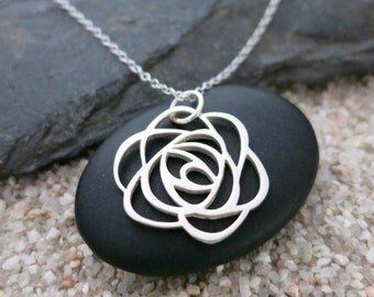Silver Rose Necklace, Sterling Silver Rose Charm, Nature Jewelry, Flower Necklace
