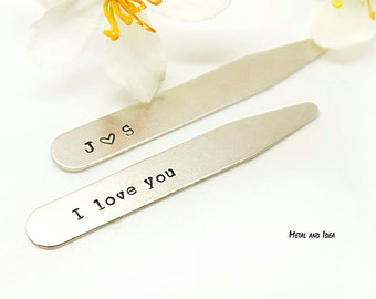 Personalized Collar Stays, Custom collar stays, Hand stamped men's collar stay, Valentines day gift, mens gift, wedding gift- groomsmen gift
