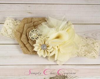 Rustic Vintage Burlap Headband Cream Beige Flower Girl Headband Lace Headband Country Headband Burlap Headband