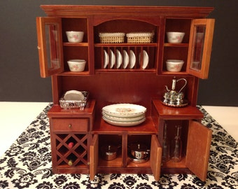 Dollhouse Miniature Furniture Kitchen/Living Room Wood Mahogany Cabinet 1:12